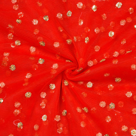 Red Golden Embroidery Silk Net Fabric-18719