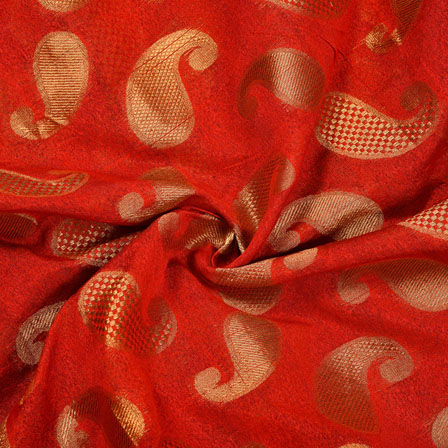 Red Golden Paisley Chanderi Zari Silk Fabric-12103