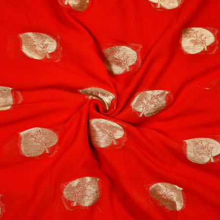 Red Golden Pan Georgette Viscose Boota Fabric-41140