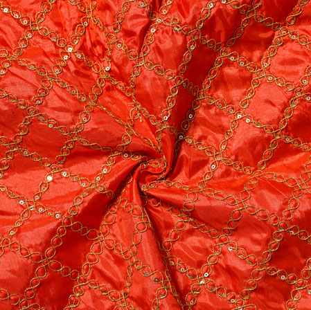 Red Golden Embroidery Silk Paper Fabric-18521