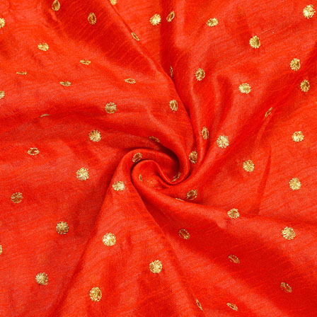 Red Golden Polka Banglori Silk Fabric-12310