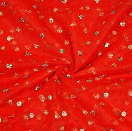 Red Golden Polka Net Fabric-18905