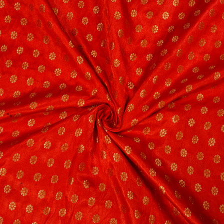 Red Golden Polka Satin Brocade Silk Fabric-12679