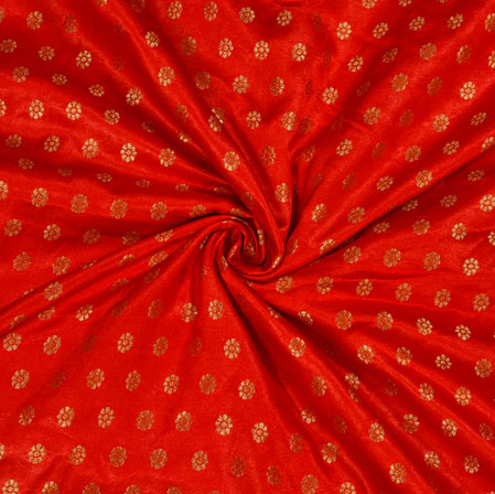 Red Golden Polka Satin Brocade Silk Fabric-12688