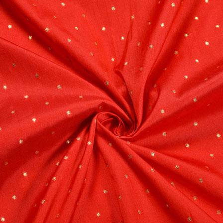 Red Golden Polka Zari Taffeta Silk Fabric-12290