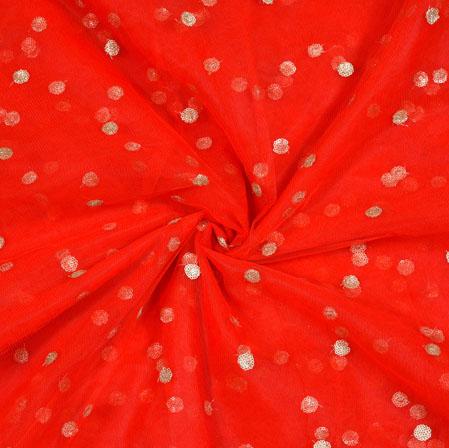 Red Golden Sequin Net Fabric-19008