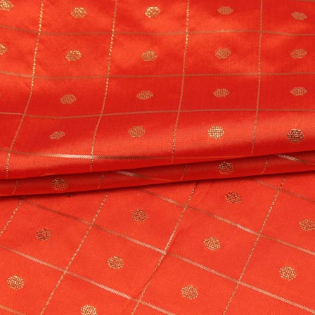 Red Golden Zari Checks Dot Brocade Silk Fabric-9244