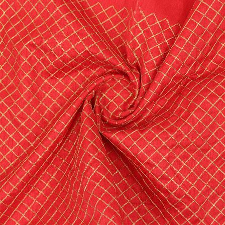 Red Golden Zari Silk Fabric-9075