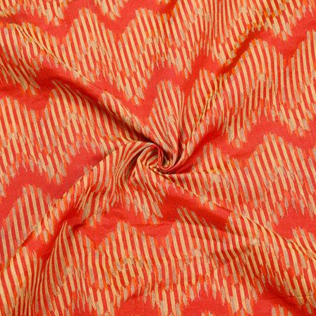 Red Golden Zig-Zag Jaquard SIlk Fabric-12466