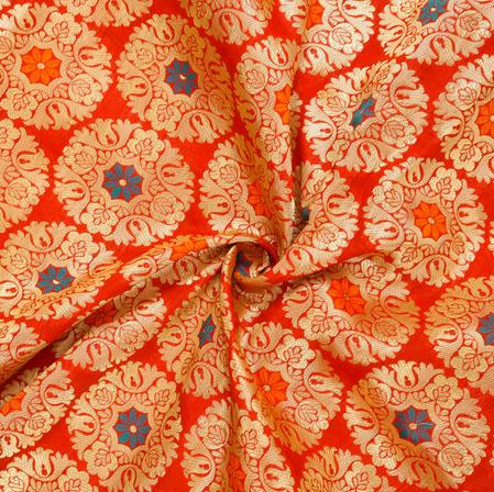 Red Golden and Blue Circle Banarasi Silk Fabric-12544