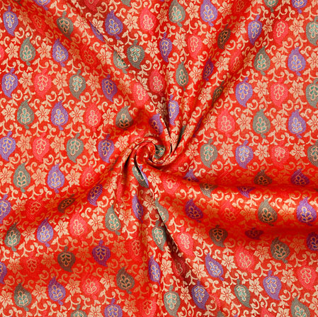 Red Golden and Blue Floral Cotton Jacquard Fabric-28132