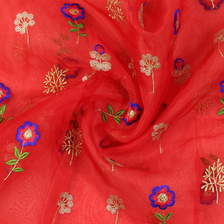 Red-Golden and Blue Flower Design Embroidery  Silk Organza Fabric-50032