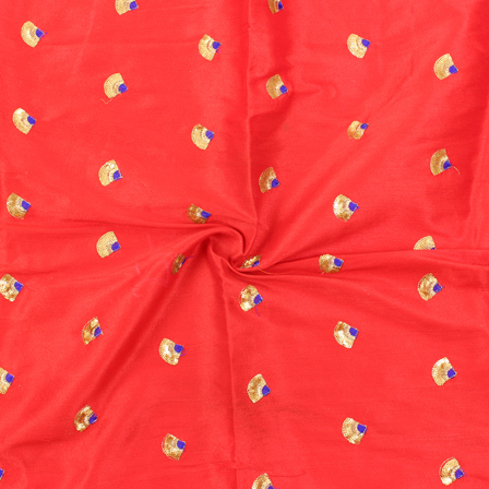 Red-Golden and Blue Small Floral Pattern Silk Embroidery Fabric-60117