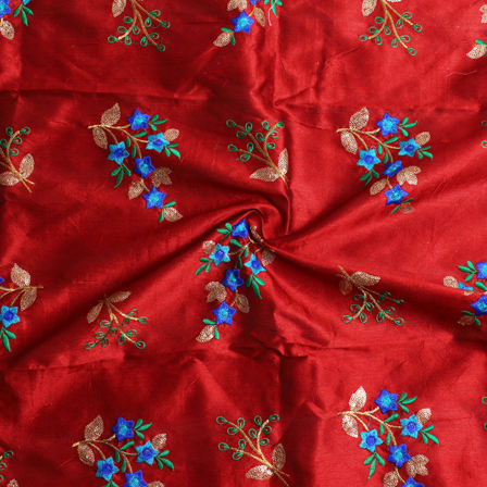 Red-Golden and Green Flower Pattern Silk Embroidery Fabric-60135
