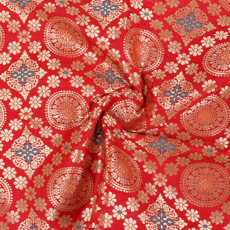 Red Golden and Orange Floral Banarasi Silk Fabric-9275
