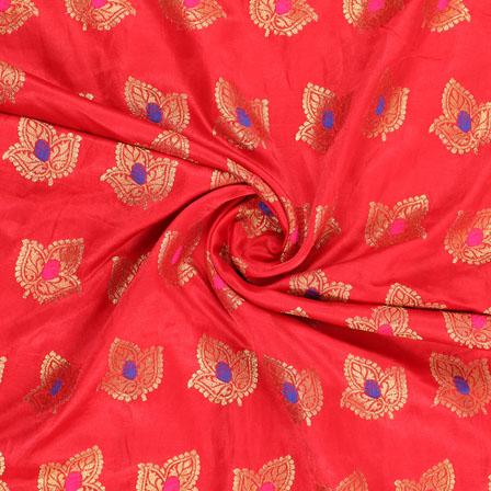 Red Golden and Pink Banarasi Silk Fabric-8948