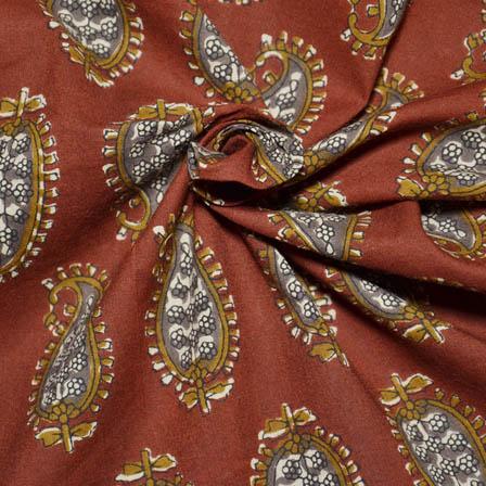 Red-Gray and Olive Green Paisley Pattern Kalamkari Block Fabric-14030