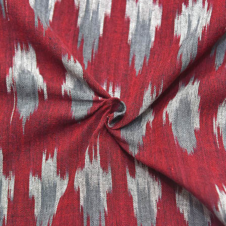 Red-Gray  and White Unique Shape Ikat Fabric-12016