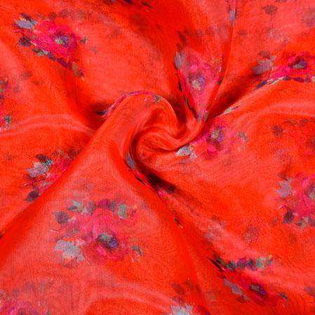 Red Green Floral Organza Digital Silk Fabric-22360