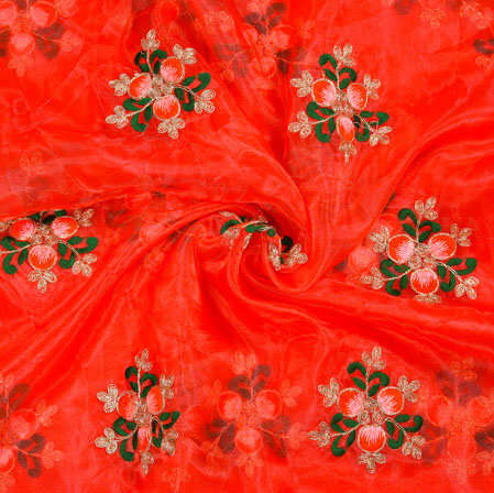 Red Green Floral Organza Embroidery Fabric-22161
