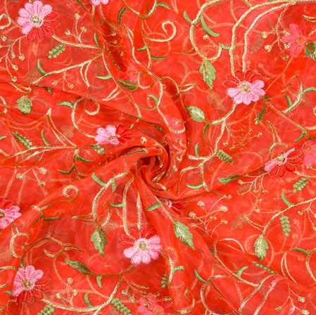 Red Green Flower Organza Embroidery Fabric-22236