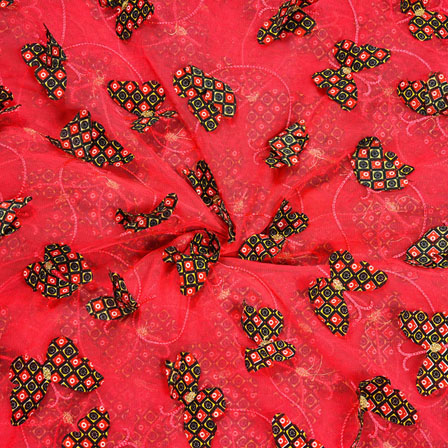 Red Green Net Butterfly Embroidery Fabric-18777