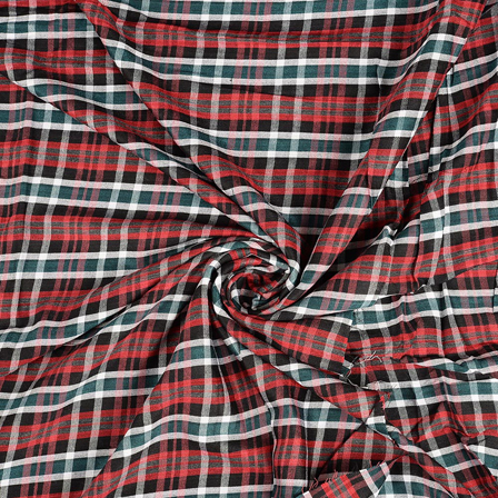 Red-Green and Black Checks Rayon Shirt Fabric-40252