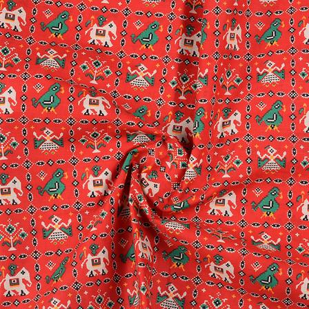 Red-Green and Black Cotton Kalamkari Fabric-10149