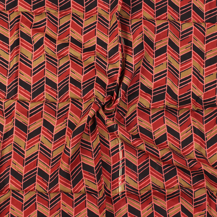 Red-Green and Black Zig Zag Design Block Print Rayon Fabric-15042