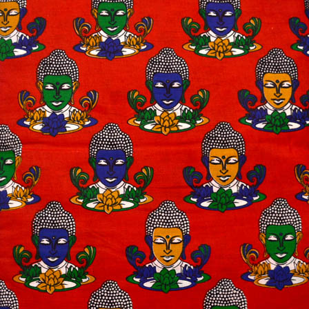 Red-Green and Blue Buddha Design Kalamkari Cotton Fabric-5580