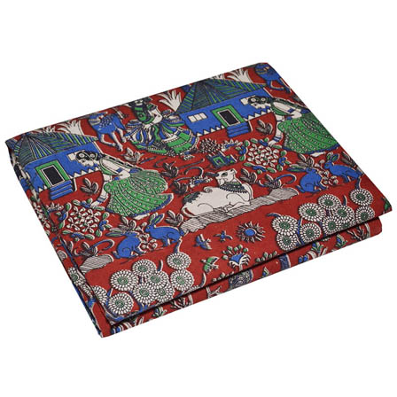 Red-Green and Blue Village Design kalamkari Cotton Fabric-5769