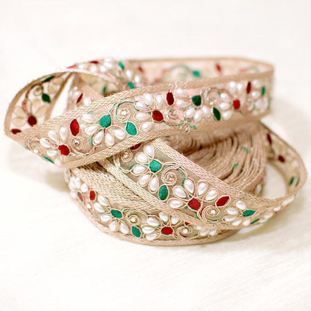 9 MTR Roll of Red-Green and Cream Leaf Pattern Jacquard Saree Border-4042