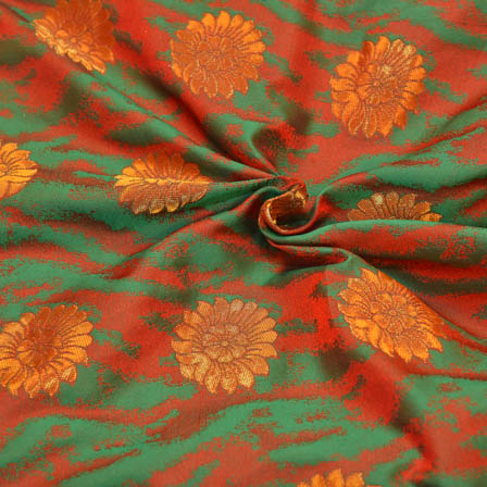 Red-Green and Golden Floral Pattern Brocade Silk Fabric-8135