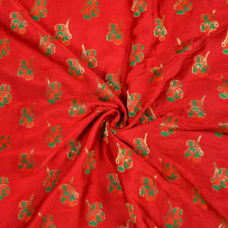 Red Green and Golden Floral Satin Brocade Meena Fabric-12932