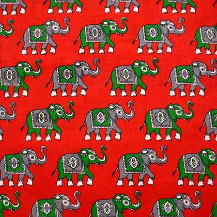 Red-Green and Gray Elephant Shape Kalamkari Cotton Fabric-5552