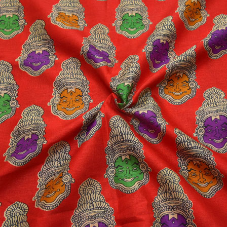 Red-Green and Purple Kuchipudi Face Design Kalamkari Manipuri Silk-16081