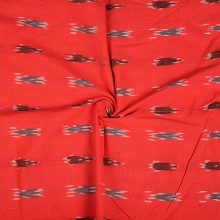 Red-Green and White Ikat Cotton Fabric-12094