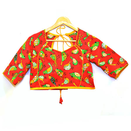 Red-Green and Yellow Bird Kalamkari Print Cotton Blouse-30037