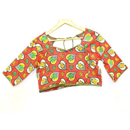 Red-Green and Yellow Buddha Kalamkari Print Cotton Blouse-30024