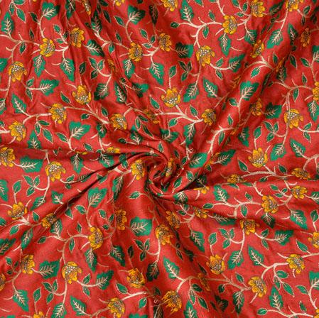 Red Green and Yellow Floral Banarasi Brocade SIlk Fabric-12760