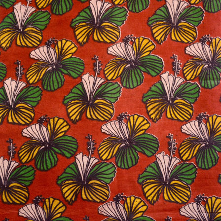 Red-Green and Yellow Flower Design Kalamkari Fabric-5454