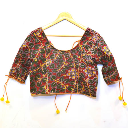 Red-Green and Yellow Flower Kalamkari Print Cotton Blouse-30076