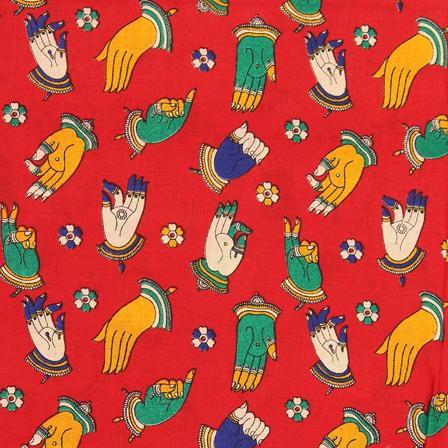 Red-Green and Yellow Hand Mudra Design Kalamkari Cotton Fabric-10045