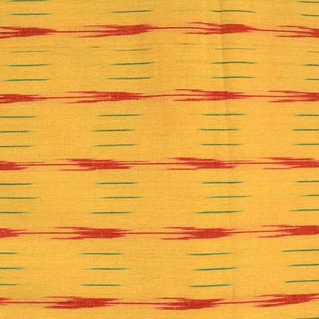 Red-Green and Yellow Ikat Cotton Fabric-4237