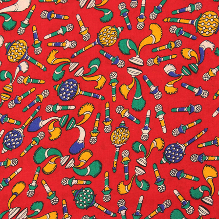 Red-Green and Yellow Kalamkari Cotton Fabric-10033