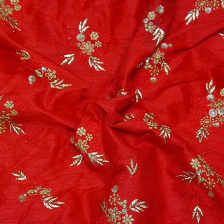 Red Jaipuri Silk Base Fabric With Golden Flower Embroidery-60018