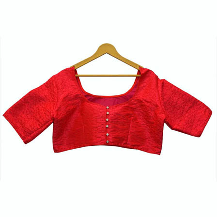 Red Leaf Silk Brocade Blouse-30124