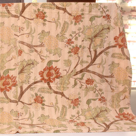Red-Light Green and Peach Handmade Tree Pattern Kantha Quilt-4325
