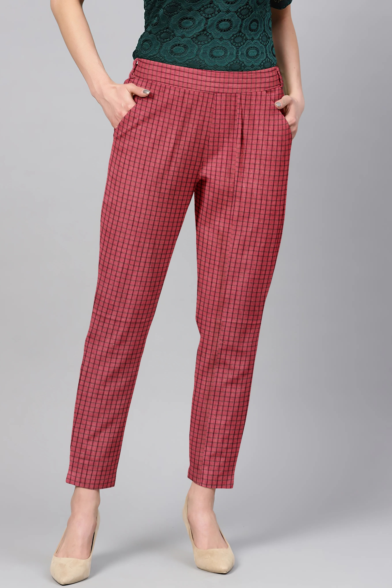Red Maroon Cotton Check Regular Fit Solid Trouser-36109