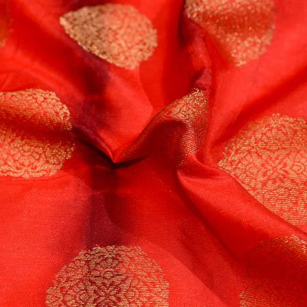 Red-Maroon and Golden tie-dye brocade silk fabric-5043